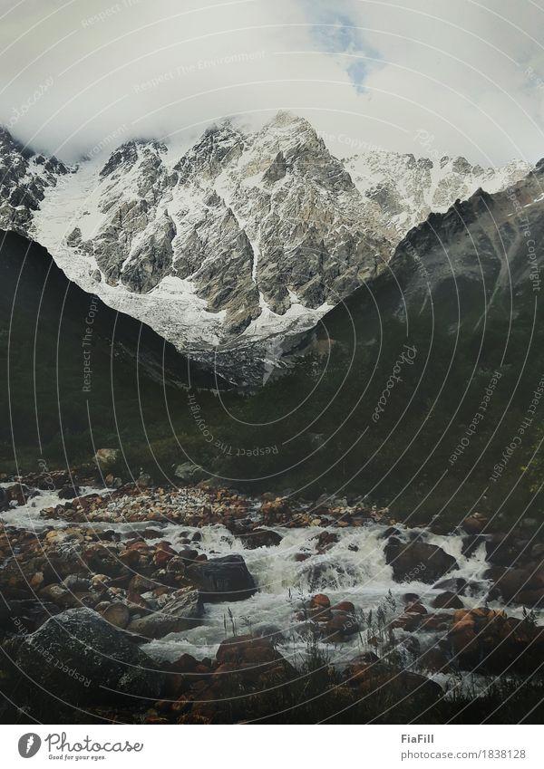 Der Berg Skhara und der Fluss Enguri Lifestyle Gesundheit Ferien & Urlaub & Reisen Tourismus Ausflug Abenteuer Freiheit Camping wandern Umwelt Natur Landschaft