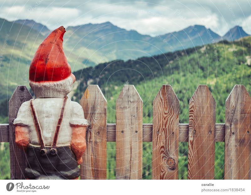 Bergzwerg rot Berge u. Gebirge klein Idylle Aussicht Rücken beobachten Gipfel Alpen Kitsch Zaun Mütze Figur Fensterblick Heimat Südtirol