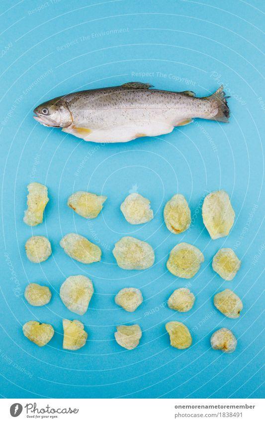 Fish'n'Chips blau Essen Tod Kunst außergewöhnlich Design Ernährung modern Kreativität Fisch Küche lecker Gemälde Bioprodukte Appetit & Hunger Handel