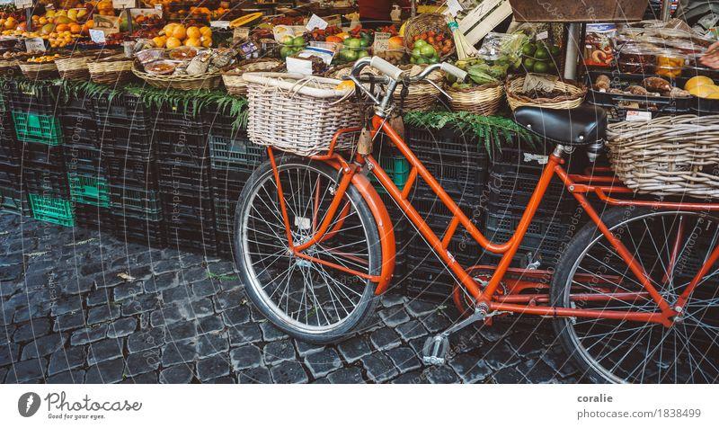 Markttag Stadt rot Frucht Fahrrad kaufen Italien stoppen Frankreich Bioprodukte Altstadt unterwegs Marktplatz Kiste parken Rom