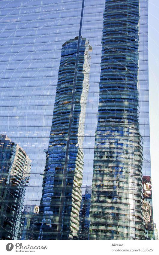 Kampf der Giganten Amerika Nordamerika Stadtzentrum Skyline Haus Hochhaus Fassade Spiegelfront Spiegelbild Glas Metall eckig gigantisch glänzend groß hoch kalt