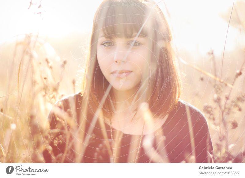 Portrait Mensch Natur Jugendliche schön Pflanze Gesicht ruhig Haare & Frisuren träumen Frau hell Zufriedenheit Gefühle rosa gold frisch