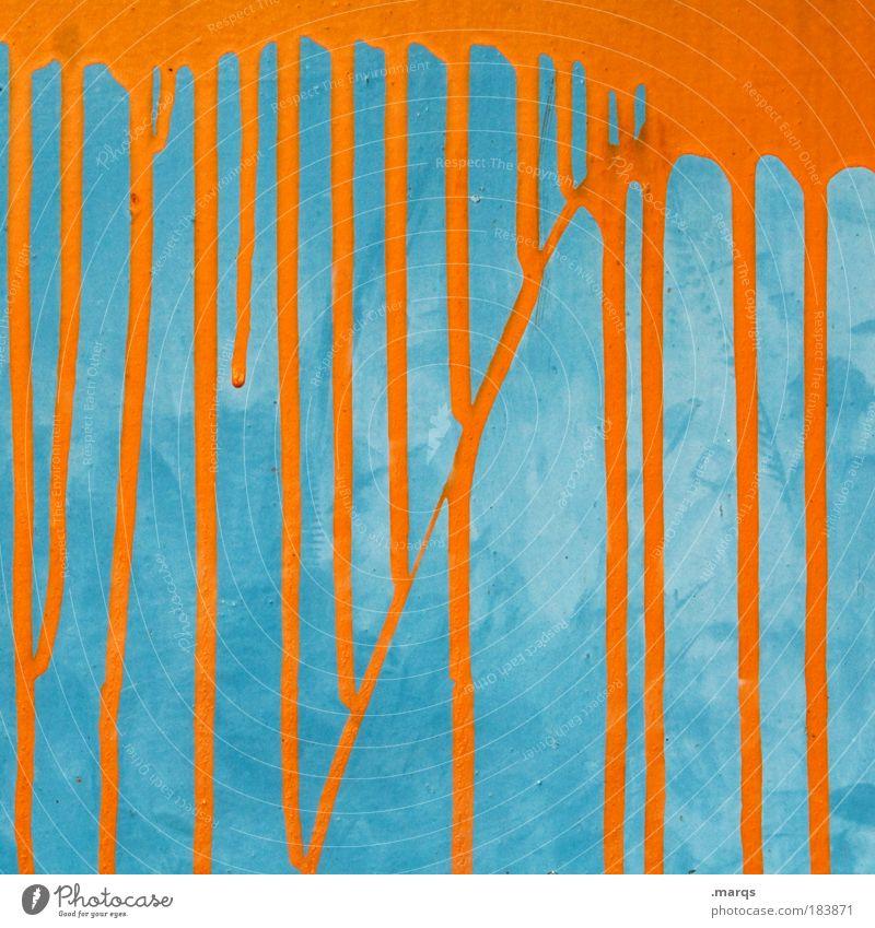 Anstrich Stil Design Linie leuchten außergewöhnlich einzigartig retro blau Farbe skurril Wandel & Veränderung orange Kontrast Farbfoto mehrfarbig Detailaufnahme