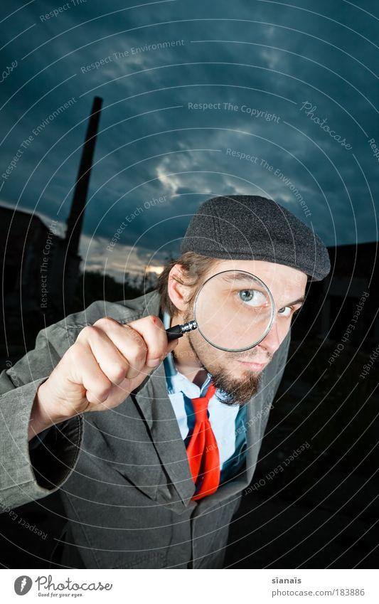 sherlock frood Mensch Mann blau Hand Erwachsene maskulin beobachten Sicherheit Suche dünn Software Weitwinkel Überraschung Schornstein Krawatte Durchblick