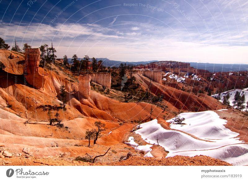 Natur Himmel blau Winter Ferien & Urlaub & Reisen Wolken Schnee Berge u. Gebirge Sand Felsen Wüste Hügel Schlucht USA Utah Bryce Canyon
