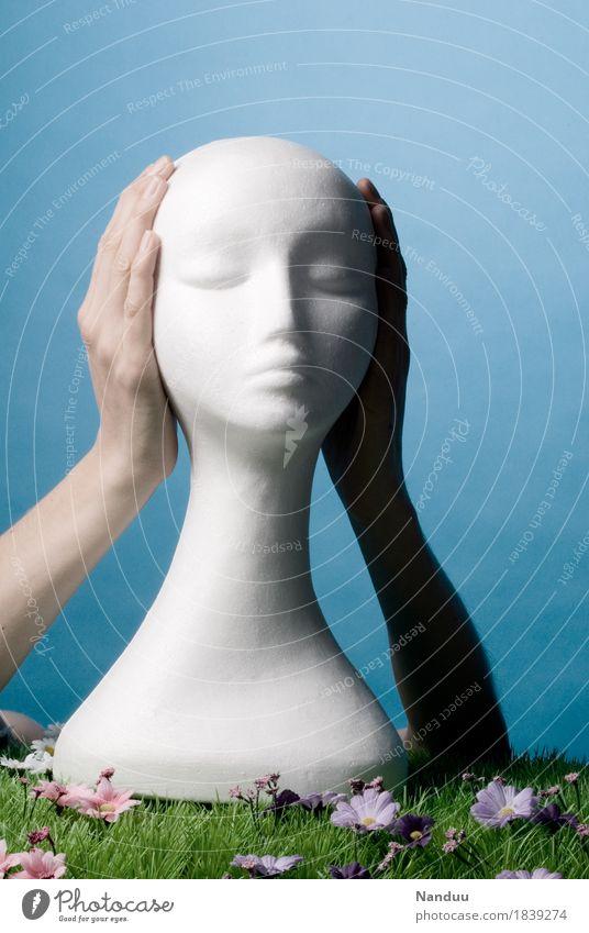 Nichts hören Kopf Hand 1 Mensch Todesangst taub zuhalten schließen ignorieren Wahrheit Styropor Styroporkopf Perückenkopf Perückenhalter Farbfoto