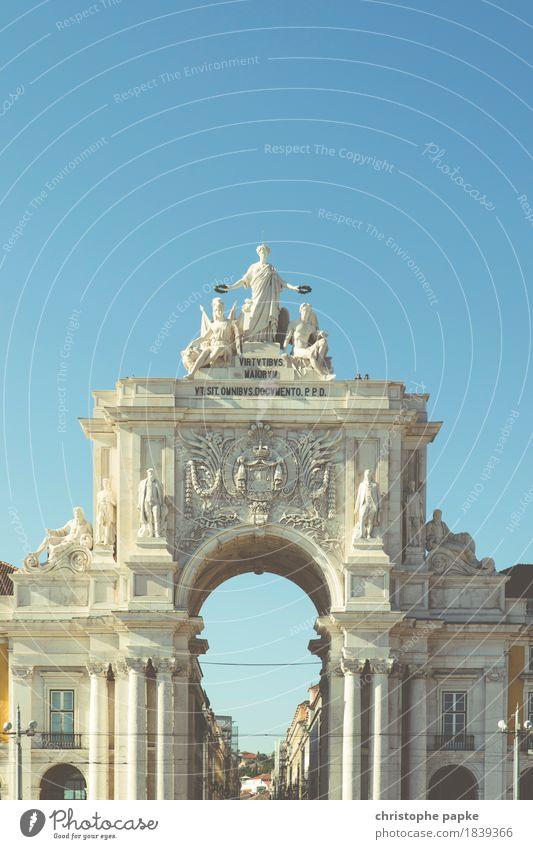 Arco da Rua Augusta / Praça do Comércio / Lissabon Ferien & Urlaub & Reisen alt Stadt Sommer Sonne Architektur Gebäude Fassade Tourismus historisch Bauwerk