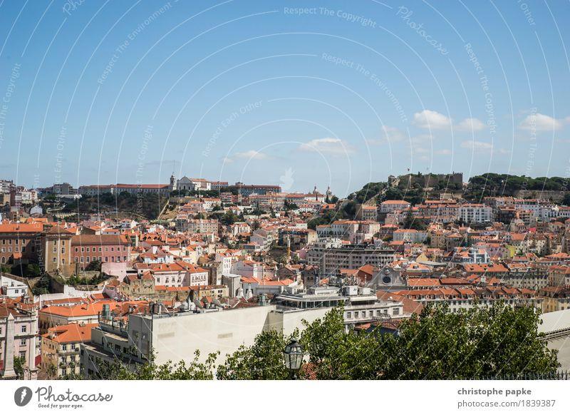 Lissabons Hügel Ferien & Urlaub & Reisen Städtereise Sommer Sommerurlaub Himmel Wolken Schönes Wetter Portugal Stadt Hauptstadt Stadtzentrum Altstadt Skyline