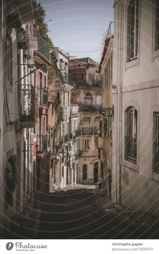 Bairro Alto Lissabon Portugal Stadt Hauptstadt Stadtzentrum Altstadt Menschenleer Architektur Mauer Wand alt historisch Verfall eng Gasse Farbfoto