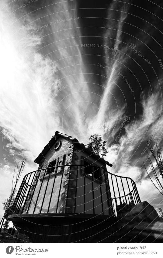 Himmel Haus Wolken Spielen Park Schwarzweißfoto Natur Kindheit Spielplatz Kinderspiel