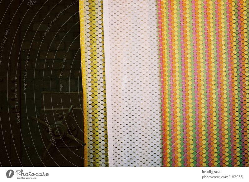 Farbriss weiß rot gelb Design Dekoration & Verzierung verrückt retro Niveau Kunststoff trashig Vorhang Verpackung Abdeckung einpacken Geschenkpapier Farbfoto