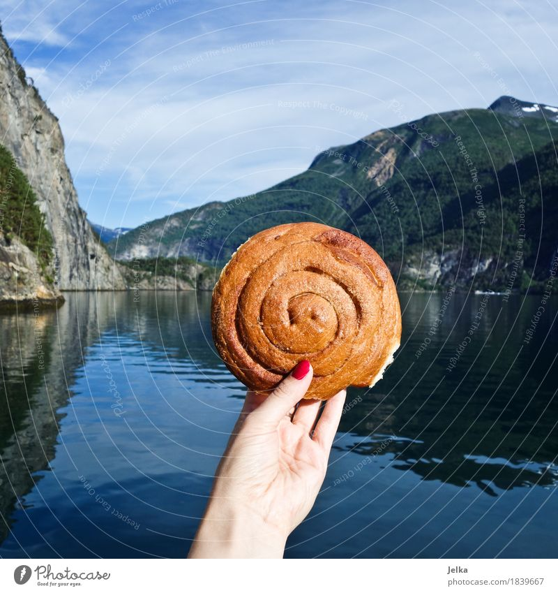 Fjord-Kanelboller Natur Ferien & Urlaub & Reisen Wasser Hand Landschaft Berge u. Gebirge Lebensmittel See Ernährung Europa Finger rund lecker festhalten