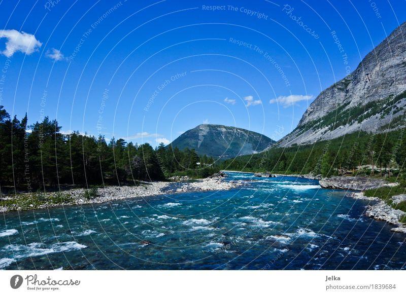 Fluss Otta Landschaft Wasser Himmel Sommer Berge u. Gebirge Flussufer Norwegen Europa Menschenleer blau otta Farbfoto Außenaufnahme Textfreiraum oben Tag