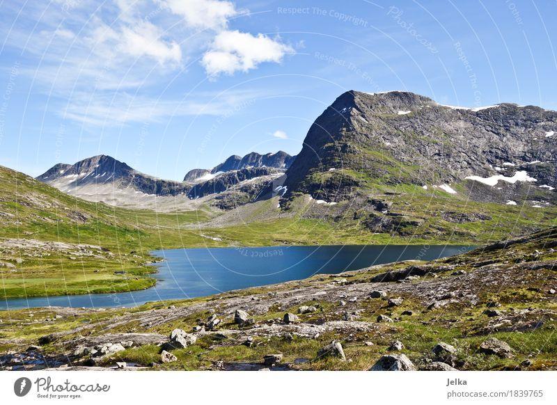 Blue Lake Himmel Natur Ferien & Urlaub & Reisen Sommer Wasser Landschaft Berge u. Gebirge See Tourismus Luft wandern Europa Gipfel Norwegen Gebirgssee Wandertag