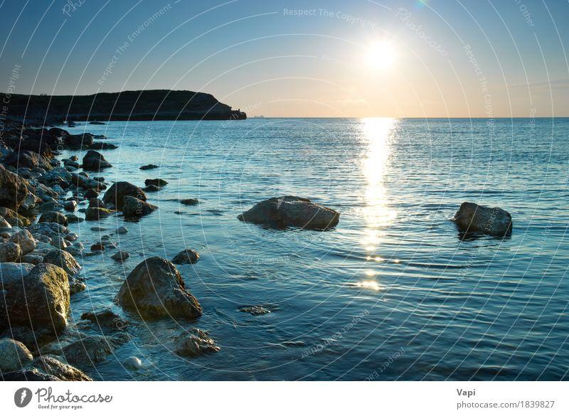 Seeufer und Steine Ferien & Urlaub & Reisen Sommer Sommerurlaub Sonne Strand Meer Wellen Tapete Natur Landschaft Wasser Himmel Wolken Horizont Sonnenaufgang