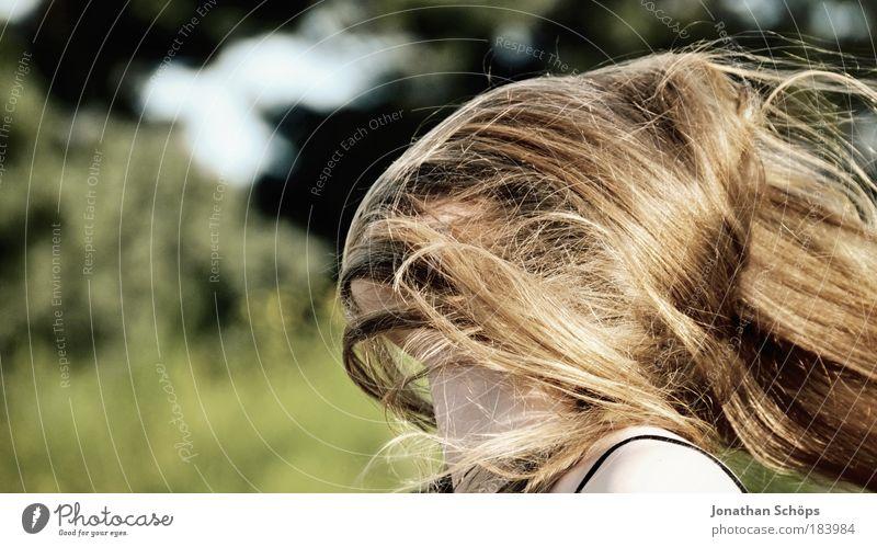 automatische Verschleierung durch den Wind Mensch Jugendliche Mädchen grün feminin Haare & Frisuren Kopf braun Frau glänzend Erwachsene Kind Natur Schutz