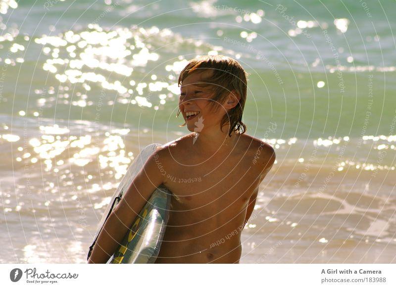 Strahlemann Ferien & Urlaub & Reisen Freiheit Sommer Sommerurlaub Sonne Strand Meer Wellen Sport Wassersport Kind Junge Jugendliche 8-13 Jahre Kindheit