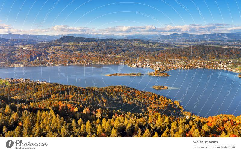 Sonniger Herbsttag auf dem See in den Bergen von Süd-Österreich Erholung Ferien & Urlaub & Reisen Tourismus Abenteuer Ferne Freiheit Städtereise