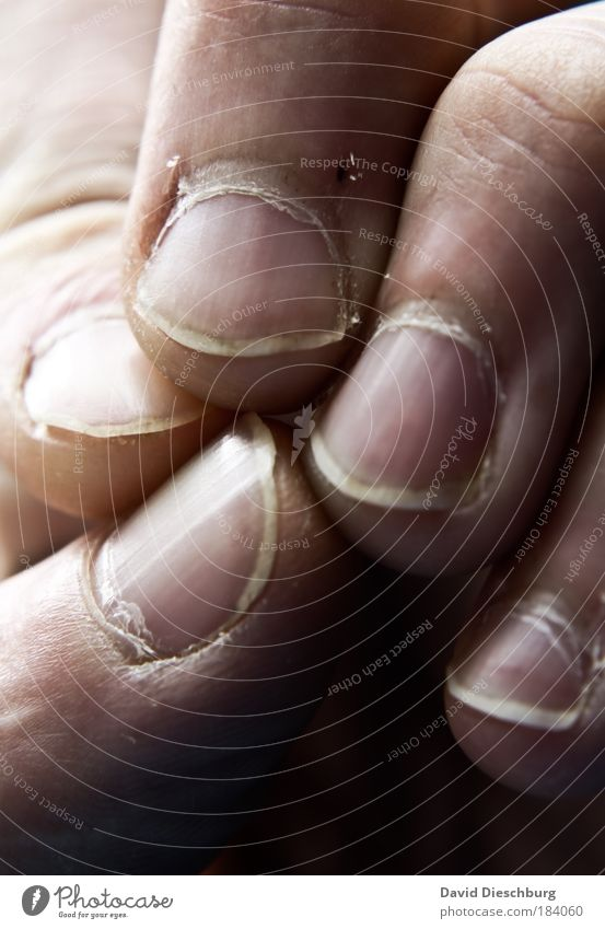 Krisensitzung vorm Friseurbesuch Farbfoto Nahaufnahme Detailaufnahme Makroaufnahme Tag Kontrast Haut Hand Finger Fingernagel berühren Daumen Zeigefinger