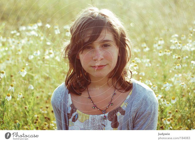 Frühling war einmal Mensch Kind Natur Jugendliche schön Mädchen Sommer Blume ruhig Erholung feminin Wiese Umwelt Freiheit Glück Wärme