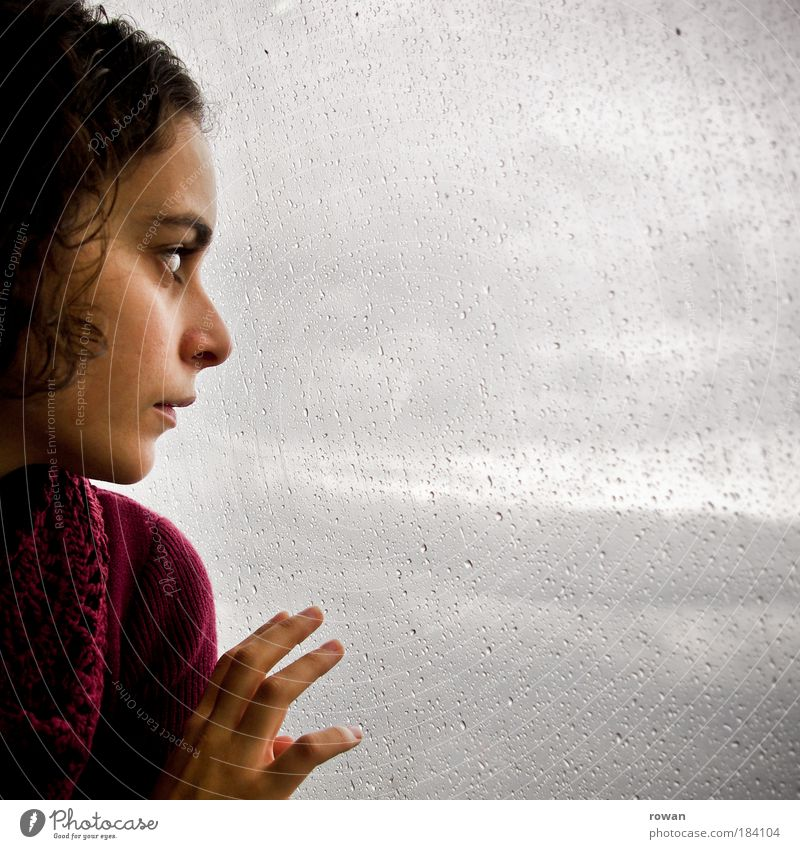 Regentag Frau Mensch Hand Jugendliche Einsamkeit dunkel kalt feminin Fenster Traurigkeit Erwachsene nass Trauer trist Sehnsucht
