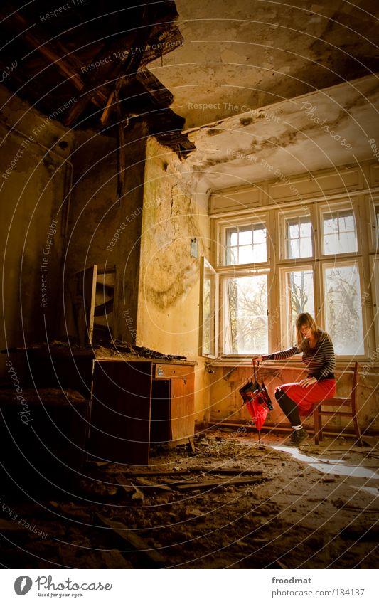 krisenfest Frau Mensch Jugendliche Pferd dunkel feminin Fenster träumen Möbel dreckig Erwachsene Licht mehrfarbig sitzen trist bedrohlich