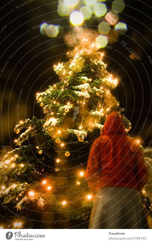 ja is scho wieder weihnachten Farbfoto mehrfarbig Außenaufnahme Abend Nacht Kunstlicht Licht Langzeitbelichtung Oberkörper Rückansicht Blick nach vorn Mensch