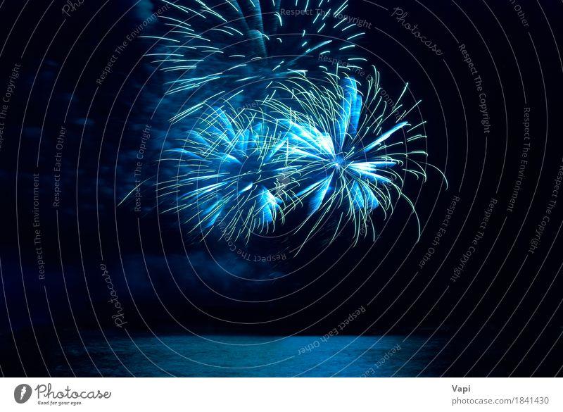 Blaues buntes Feiertagsfeuerwerk Himmel blau Weihnachten & Advent Farbe grün Wasser weiß Freude dunkel schwarz Feste & Feiern Party See hell neu Veranstaltung