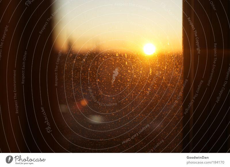 Sonntag Abend Wärme dreckig Glas Fensterscheibe Durchblick Fensterblick Fensterplatz