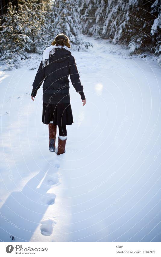 weit draussen Mensch Natur Jugendliche weiß Winter ruhig Einsamkeit Ferne Schnee Erholung Eis Frau wandern Wetter laufen Hoffnung