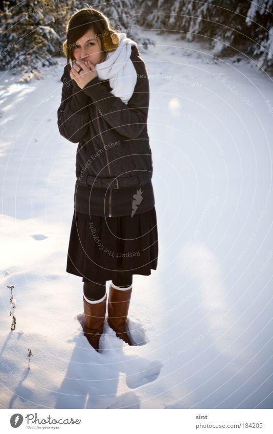 es wird kalt Natur Jugendliche schön ruhig Winter Einsamkeit feminin Schnee Erwachsene Eis glänzend stehen Frost einzigartig einfach