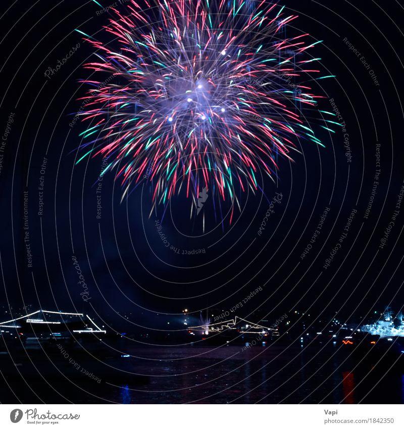Buntes Feuerwerk Freude Freiheit Nachtleben Party Veranstaltung Feste & Feiern Weihnachten & Advent Silvester u. Neujahr Kunst Himmel Nachthimmel See dunkel