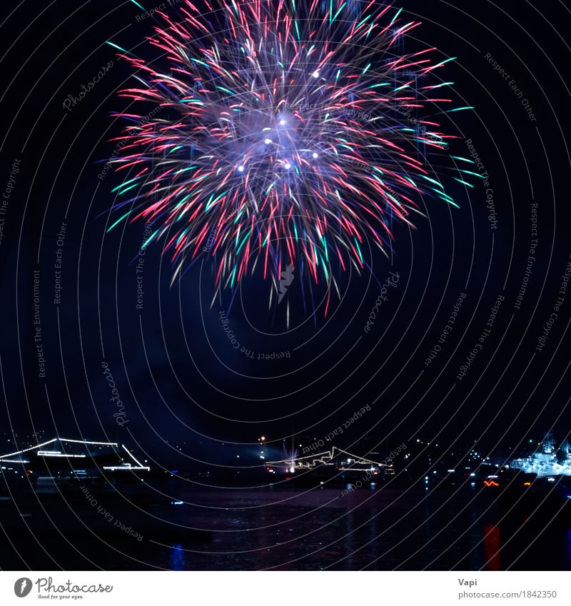 Himmel blau Weihnachten & Advent Farbe grün weiß rot Freude dunkel schwarz gelb Kunst Freiheit Feste & Feiern Party See