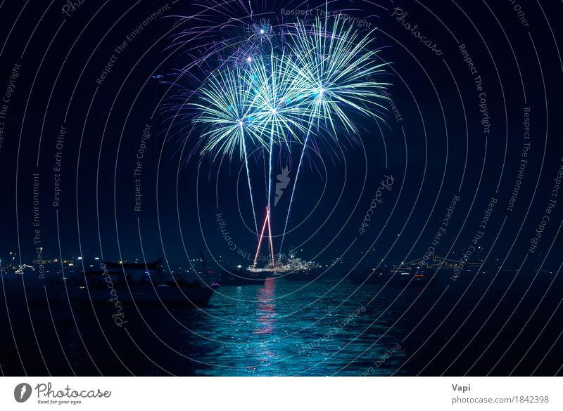 Buntes Feuerwerk über einem See Himmel blau Weihnachten & Advent Farbe Stadt grün Wasser weiß rot Freude dunkel schwarz gelb Kunst Freiheit Feste & Feiern