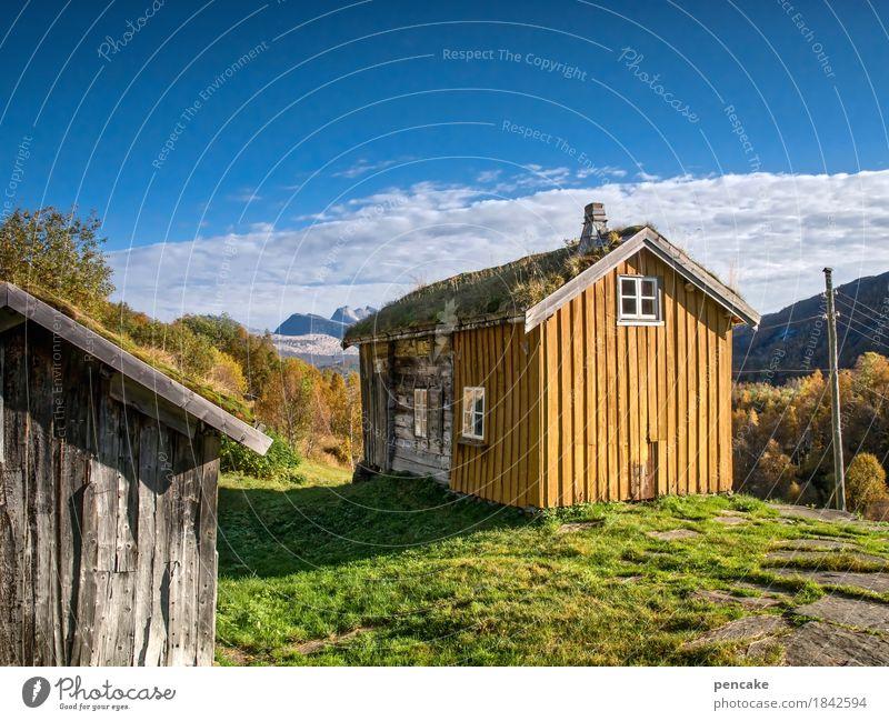 schau ins land (2) Natur Landschaft Urelemente Erde Himmel Herbst Schönes Wetter Berge u. Gebirge Erholung Blick wandern frei Freundlichkeit historisch Alm