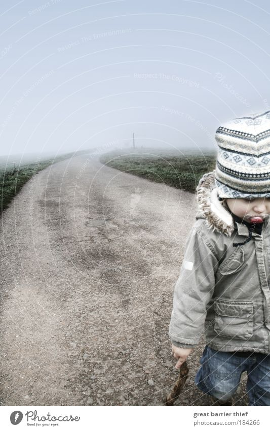 Krieger des Dumdidum Kind blau Erholung Junge Bewegung grau Wege & Pfade Kindheit Zufriedenheit Nebel laufen maskulin frei Wachstum einzigartig Kleinkind