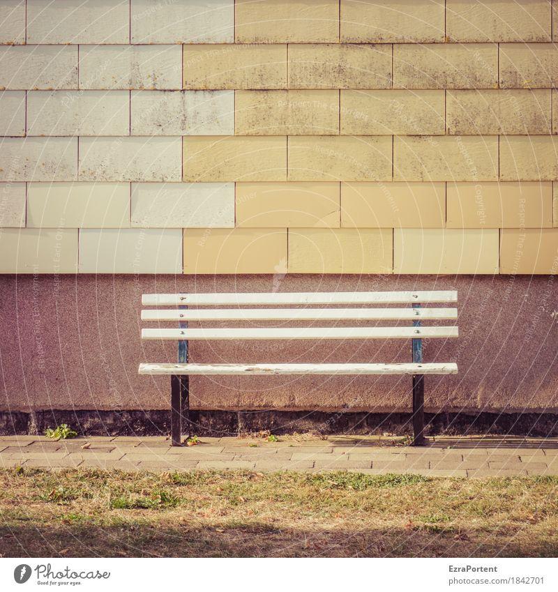 Deutsche Bank Häusliches Leben Haus Bauwerk Gebäude Architektur Mauer Wand Fassade Linie trist braun gelb grau Gefühle Pünktlichkeit ruhig Einsamkeit leer