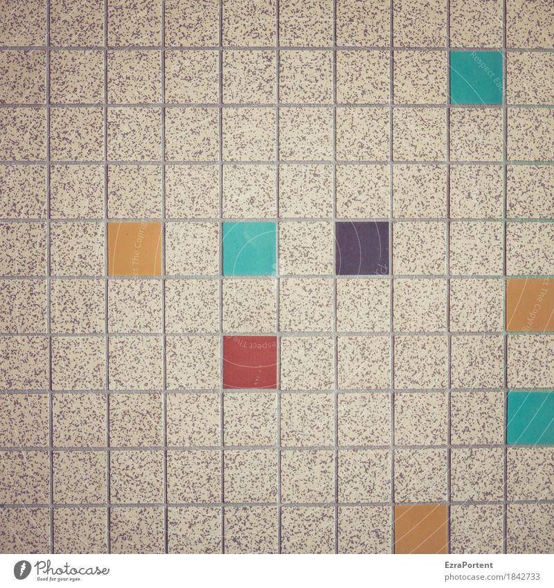 fröhlicher Quadratismus Haus Bauwerk Gebäude Architektur Mauer Wand Fassade Stein Linie blau gelb grau orange rot schwarz türkis Design Farbe Werbung viele