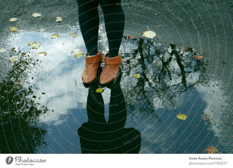egozentral Mensch Jugendliche blau Wasser schön Baum Blatt ruhig feminin Gefühle Traurigkeit Stil Beine Mode Fuß Park