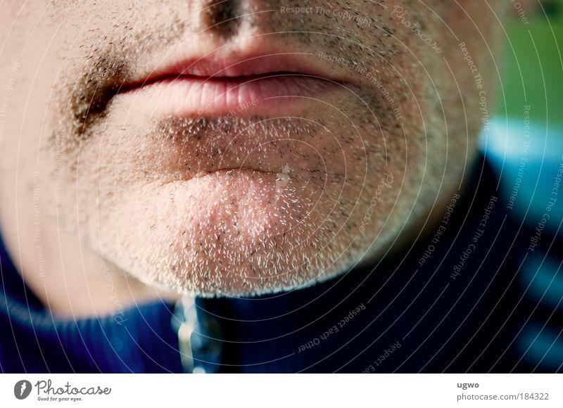 morgens um 10:07 Farbfoto Außenaufnahme Nahaufnahme Textfreiraum Mitte Tag Zentralperspektive Mensch maskulin Mann Erwachsene Mund 45-60 Jahre Dreitagebart