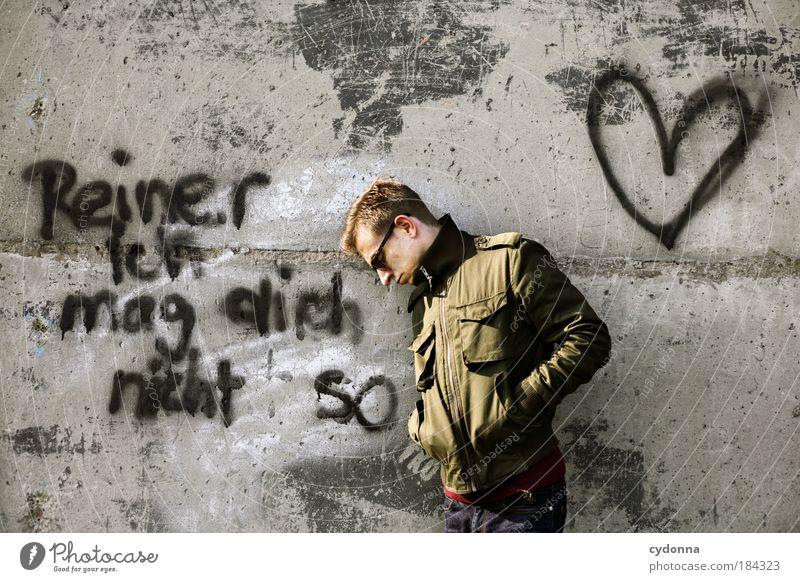 ... och, schade Mensch Mann Jugendliche Einsamkeit Erwachsene Liebe Graffiti Leben Wand Gefühle Mauer Stil 18-30 Jahre Herz Beton Schriftzeichen