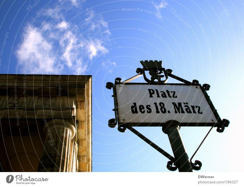 18. März Himmel blau Sommer Ferien & Urlaub & Reisen Wolken Berlin Zufriedenheit Kraft Schilder & Markierungen Erfolg Fröhlichkeit Macht Platz Tourismus Schriftzeichen Dach