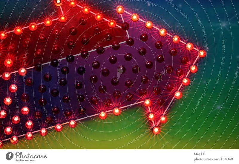 Ein Zeichen 2 grün blau rot mehrfarbig hell Schilder & Markierungen Stern (Symbol) violett Pfeil Zeichen leuchten Richtung Hinweisschild Jahrmarkt Wegweiser