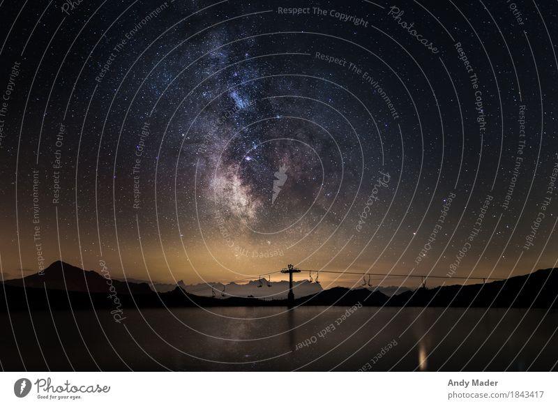 Milky Way and reflexion on a lake Berge u. Gebirge Natur Landschaft Urelemente Wasser Himmel Nachthimmel Stern Sommer Schönes Wetter mehrfarbig Milchstrasse