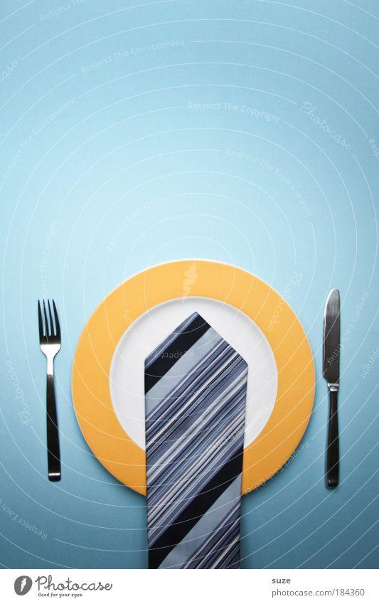 Business-Lunch blau Essen Feste & Feiern Speise Arbeit & Erwerbstätigkeit Erfolg Ernährung Streifen Veranstaltung Industrie Besteck Kreativität Idee Gastronomie