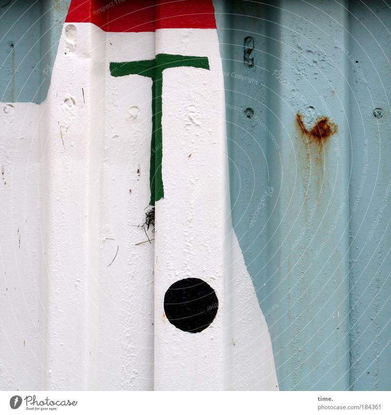 Seemannsblech weiß Meer blau rot Strand Farbe Wand Kunst rund Gemälde Loch Blech parallel Anker maritim Wölbung