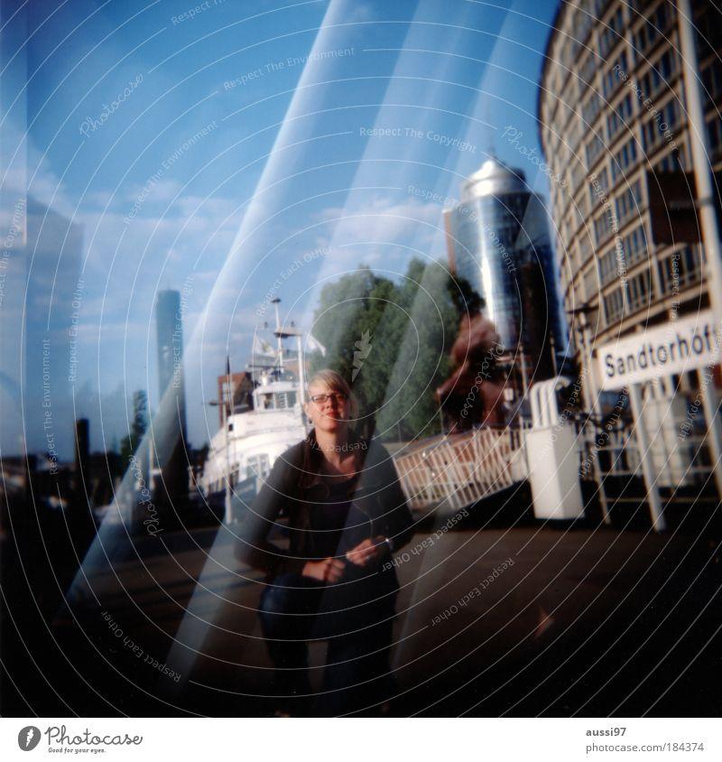 Bestaussehendste pc-User Mensch Mann Erwachsene Denken träumen Paar Holga maskulin Hamburg Hafen Sehnsucht Partner Männlicher Senior Doppelbelichtung