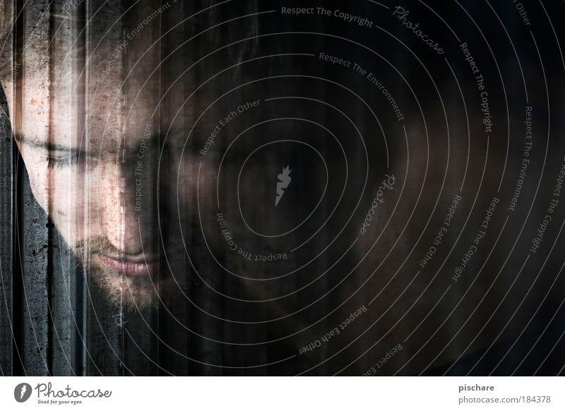 Mondsüchtig Mann schön Gesicht ruhig Porträt dunkel Fenster Erwachsene maskulin Trauer Mensch geheimnisvoll nachdenklich Denken sanft friedlich