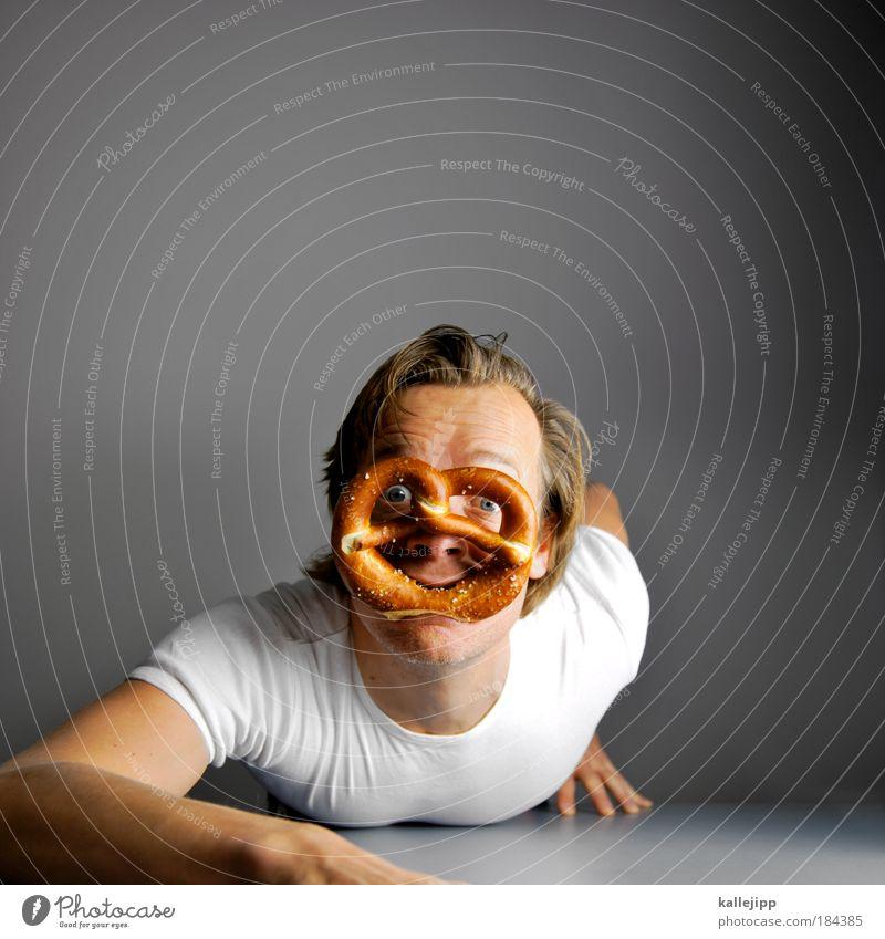 aufgebrezelt Mensch Mann Porträt Erwachsene Gesicht Auge Leben Haare & Frisuren lachen Kopf Handwerker Ernährung Lebensmittel maskulin Reflexion & Spiegelung