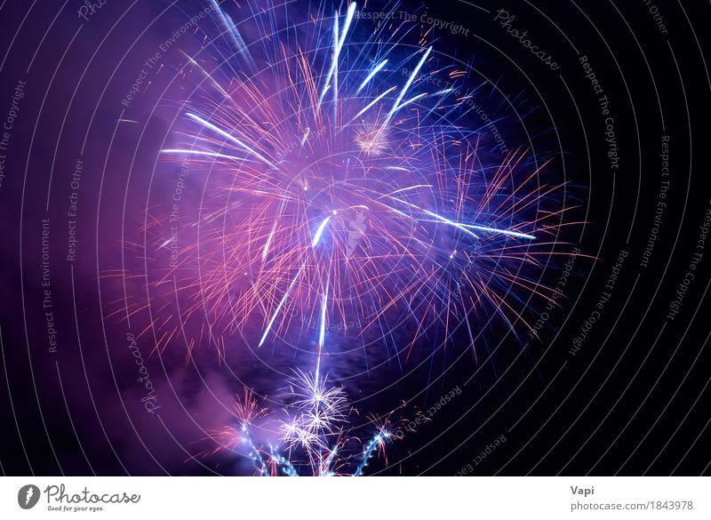 Blaues und purpurrotes buntes Feiertagsfeuerwerk Himmel blau Weihnachten & Advent Farbe schön weiß Freude dunkel schwarz Feste & Feiern Party rosa hell violett